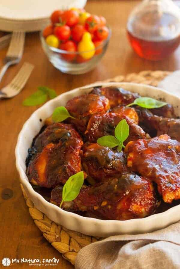 Paleo baked chicken thighs: Throw the sauce together in five minutes, throw it in the oven and get something done while your healthy, delicious dinner bakes.