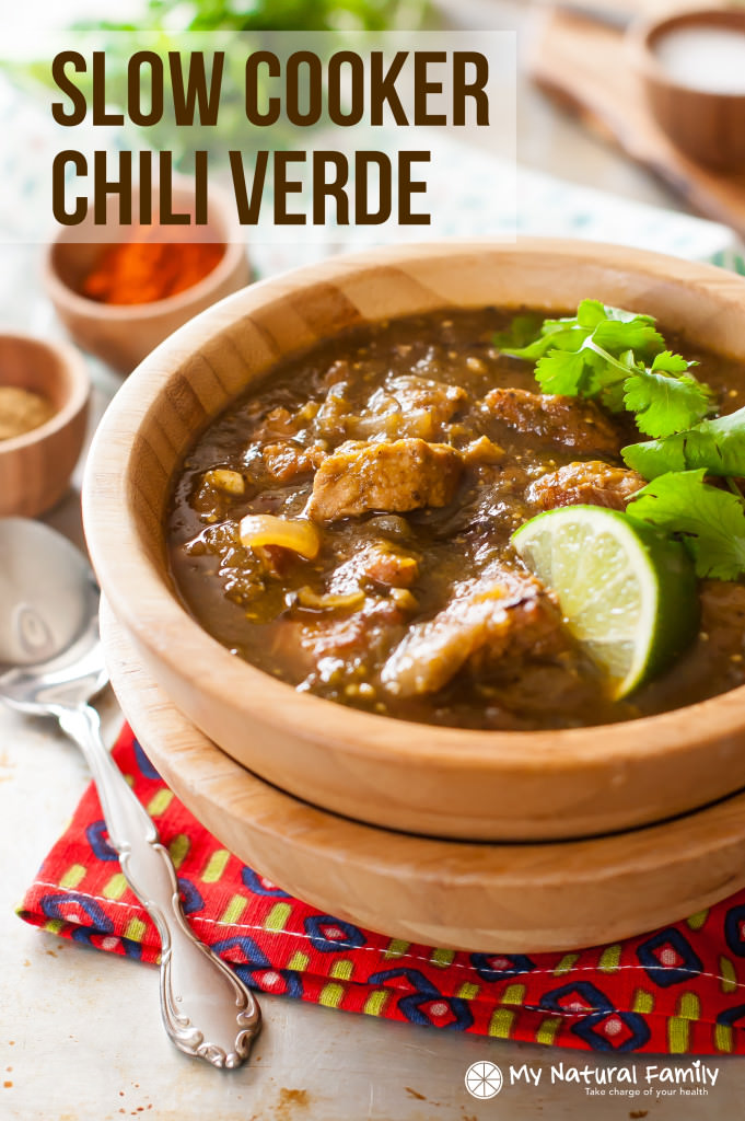 Paleo Crock Pot Chili Verde - Turn inexpensive pork roast in to a rich, spicy, flavorful soup. Take a break from tomato, broth and cream soups and experience depth of flavor.