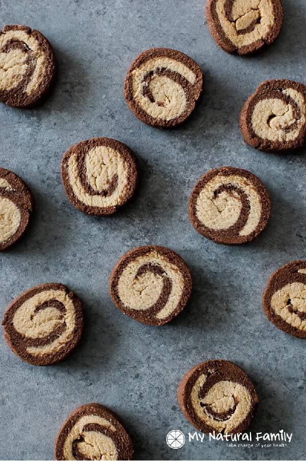 Chocolate Peppermint Swirl Soft Paleo sugar cookies Recipe {Paleo, Clean Eating, Gluten Free, Dairy Free}
