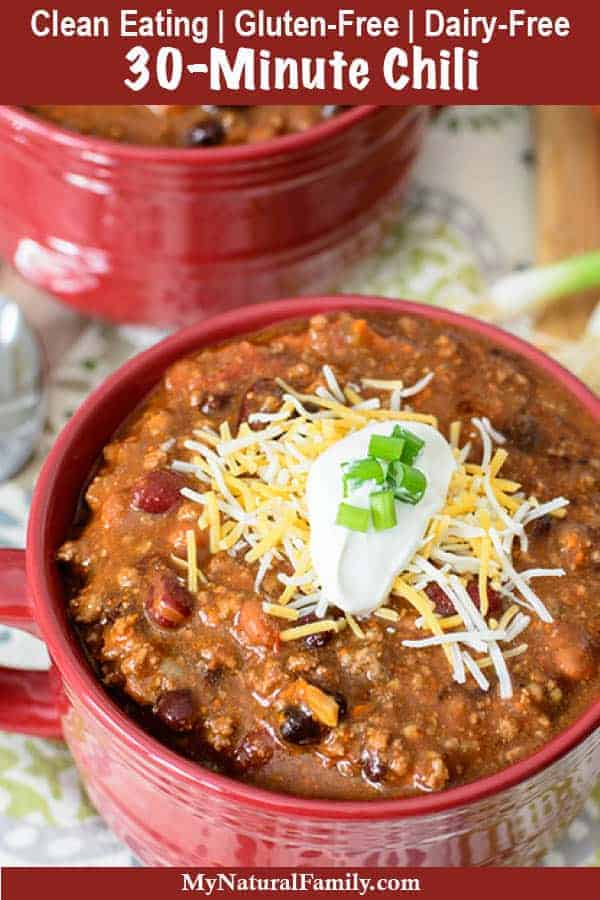 30-Minute Easy Homemade Clean Eating Chili Recipe {Gluten-Free, Dairy-