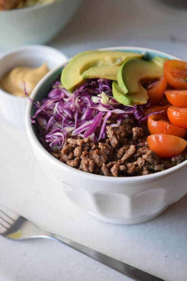 20-Minute Healthy Hamburger Bowl Recipe {Paleo, Gluten-Free, Clean Eating, Dairy-Free, Whole30}