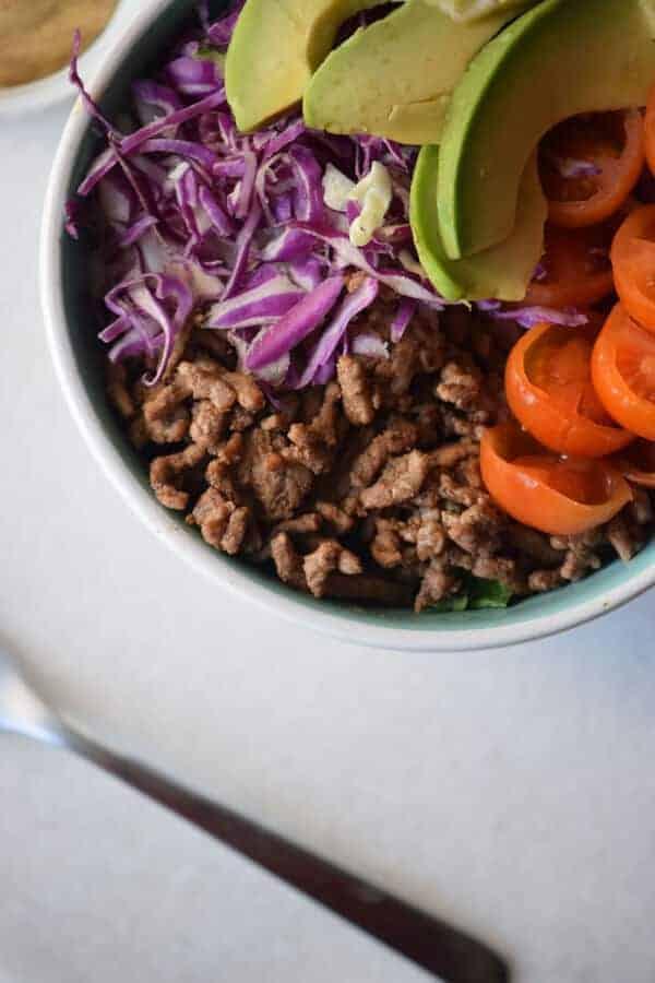 20-Minute Healthy Keto Hamburger Bowl Recipe {Paleo, Gluten-Free, Clean Eating, Dairy-Free, Whole30}