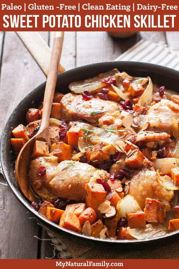 These maple-baked chicken with sweet potatoes cook up quickly in one pan. I love how fast it comes together and how easy it cleans up. {Paleo, Clean Eating, Gluten-Free, Dairy-Free} #mynaturalfamily #paleo #paleorecipes #healthyeating #healthyrecipes #healthyfood #cleaneatingrecipes #cleaneating #eatclean #justeatrealfood  #glutenfree #glutenfreerecipes