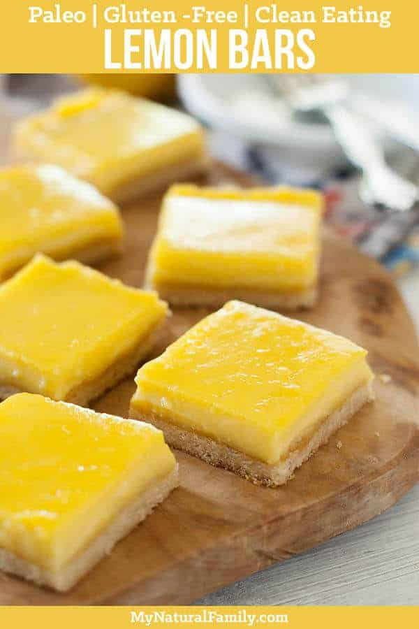 These Paleo lemon bars are so good! They have just the right amount of lemon filling and crust and are my all-time favorite dessert! {Clean Eating, Gluten-Free} #mynaturalfamily #paleo #paleorecipes #healthyeating #healthyrecipes #healthyfood