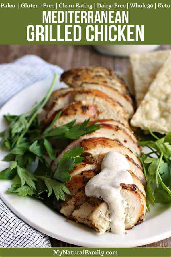 I like how this Paleo grilled chicken has a simple marinade that makes it taste really good when I grill it. And then the dipping sauce only has 5 ingredients and complements the chicken really well. Pinning this so I can make it again! {Paleo, Keto, Clean Eating, Gluten-Free, Dairy-Free, Whole30}