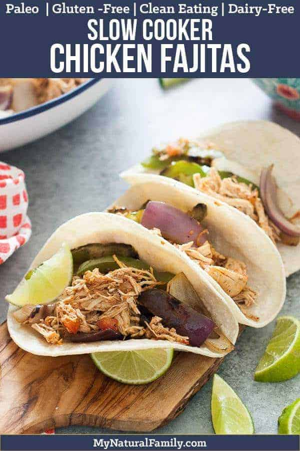 I love this chicken fajita crock pot recipe because the chicken comes out moist and full of flavor from the salsa. {Paleo, Gluten-Free, Clean Eating, Dairy-Free, Whole30} #mynaturalfamily #paleo #paleorecipes #healthyeating #healthyrecipes #healthyfood #cleaneatingrecipes #cleaneating #eatclean #justeatrealfood  #glutenfree #glutenfreerecipes #glutenfreedaddy