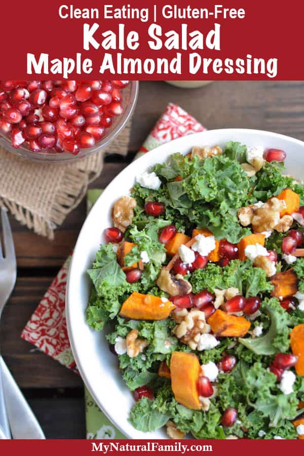 Clean Eating Kale Salad Recipe with Maple Almond Dressing {Gluten-Free}