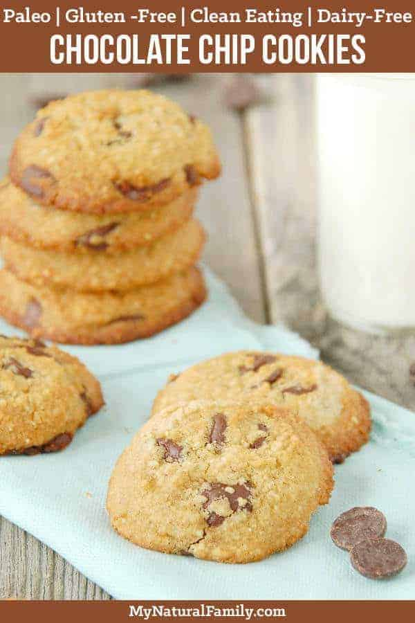 These Paleo chocolate chip cookies are crunchy on the outside and chewy in the middle. I love how they are made with almond, coconut, tapioca flours so you can't taste any one flavor and you get the best properties of each type of Paleo flour. #mynaturalfamily #paleo #paleorecipes #healthyeating #healthyrecipes #healthyfood