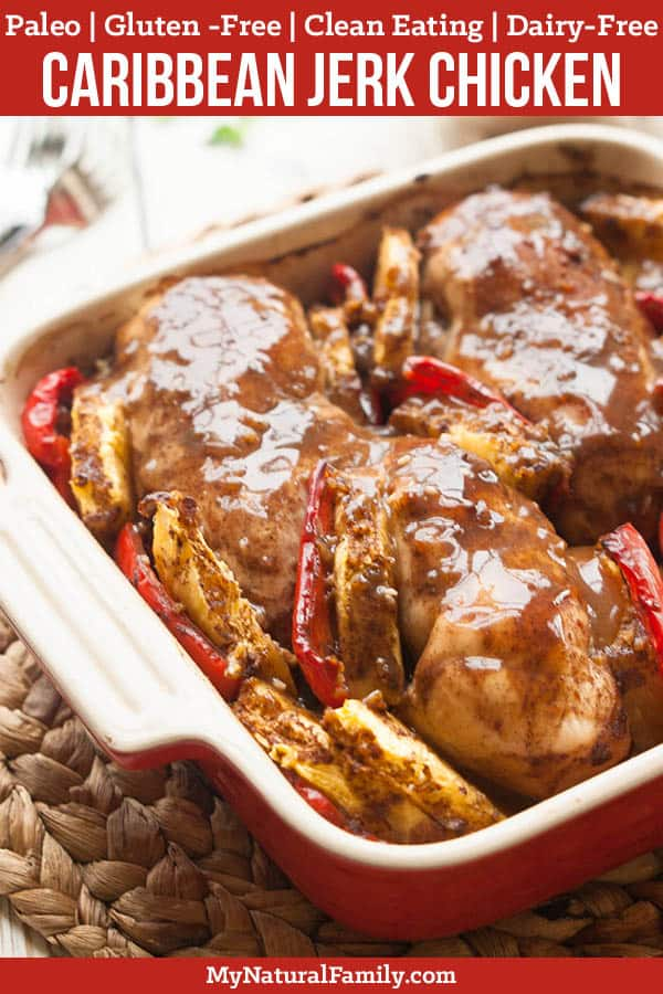 This easy baked Paleo jerk chicken recipe is easy to make and you can do whatever you want while it bakes in the oven. {Paleo, Gluten-Free, Clean Eating, Dairy-Free} #mynaturalfamily #paleo #paleorecipes #healthyeating #healthyrecipes #healthyfood #cleaneatingrecipes #cleaneating #eatclean #justeatrealfood #glutenfree #glutenfreerecipes
