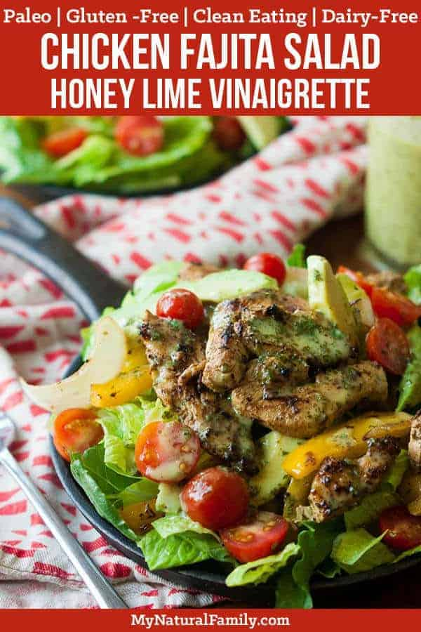 I love the marinade in this Paleo chicken fajita salad for the chicken and veggies and I could drink the vinaigrette. I love how it's so versatile - I also love to grill the chicken and veggies and eat them by themselves with just the dressing. {Paleo, Clean Eating, Gluten-Free, Dairy-Free} #paleo #paleorecipes #mynaturalfamily