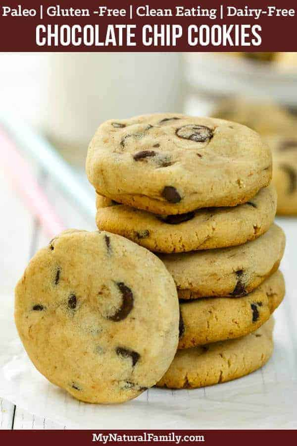 These are the softest Paleo chocolate chip cookies I have ever tried. My children love them and I love that they are healthy! #mynaturalfamily #paleo #paleorecipes #healthyeating #healthyrecipes #healthyfood