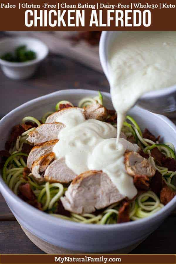 This cauliflower Paleo alfredo sauce is so good and it really helps to pull together the chicken, bacon and zoodles. So simple and so good! {Clean Eating, Gluten-Free, Dairy-Free, Whole30, Keto} #mynaturalfamily #paleo #paleorecipes #healthyeating #healthyrecipes #healthyfood  #cleaneatingrecipes #cleaneating #eatclean #justeatrealfood  #glutenfree #glutenfreerecipes #glutenfreedaddy #lowcarb #keto #ketorecipes #whole30 #whole30recipes