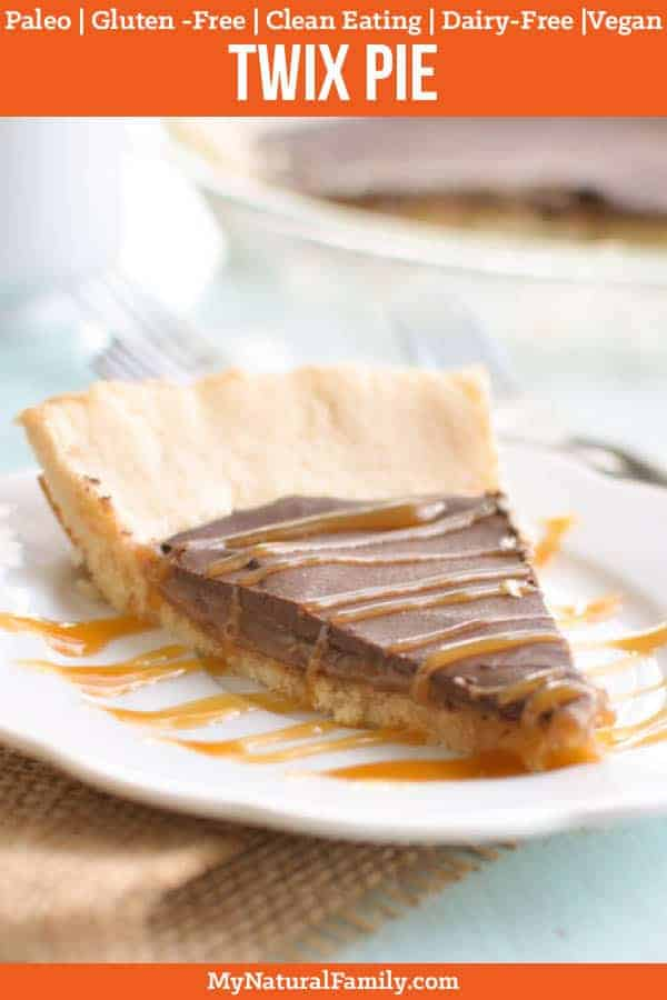 I love the combo of the shortbread crust, caramel and chocolate in this Paleo twix pie. I can't believe it's grain-free and refined sugar-free! #paleo #paleorecipe #mynaturalfamily