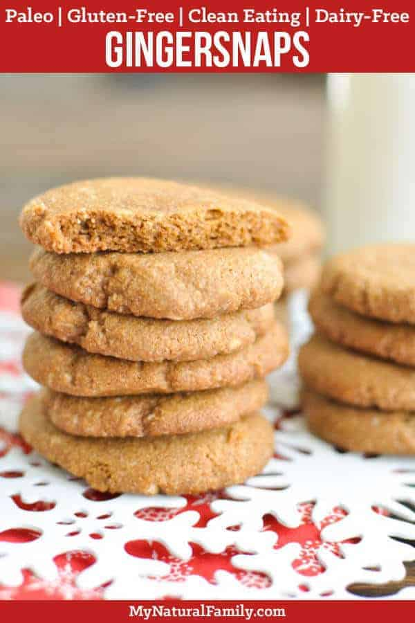 These Paleo gingersnaps are so soft, which is very unusual for Paleo Christmas cookies. Plus, they only have 6 ingredients! Bonus - they are Gluten-Free, Clean Eating, Dairy-Free and Vegan too! #mynaturalfamily #paleo #paleorecipes #healthyeating #healthyrecipes #healthyfood