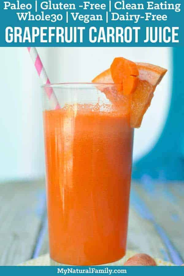 This grapefruit carrot juice recipe is perfect for those that are new to vegetable juices, or for anyone that needs an afternoon energy boost and it only has two, wholesome ingredients! {Paleo, Whole30, Clean Eating, Gluten-Free, Dairy-Free, Vegan} #mynaturalfamily #paleo #paleorecipes #healthyeating #healthyrecipes #healthyfood #cleaneating #eatclean #justeatrealfood #glutenfree #glutenfreerecipes  #whole30 #whole30recipes #vegan #veganrecipes #veganfood #dairyfree
