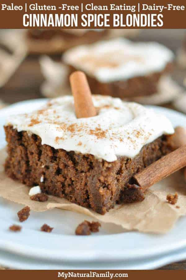 These cinnamon spice Paleo blondies have a deep, rich flavor with a light and fluffy frosting and hit the spot as a Paleo fall dessert. {Gluten-Free, Clean Eating, Dairy-Free} #mynaturalfamily #paleo #paleorecipes