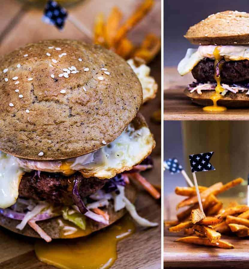 Paleo Burger Buns with yam fries and a fried egg