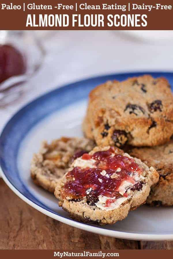 These almond flour Paleo scones are quick to make and are filled with your favorite dried fruits and seeds and are extra good topped with some butter and jelly. {Gluten-Free, Clean Eating, Dairy-Free} #mynaturalfamily #paleo #paleorecipes #healthyeating #healthyrecipes #healthyfood #glutenfree #glutenfreerecipes