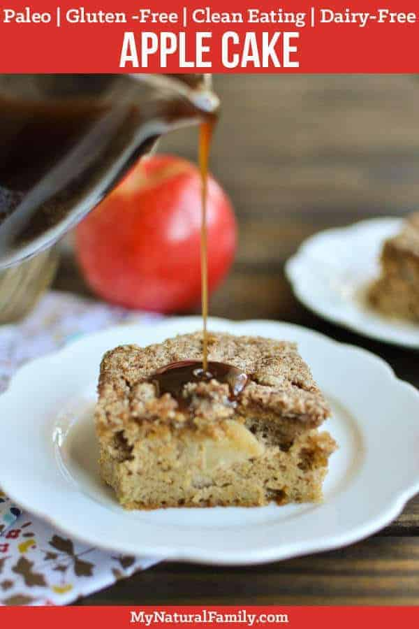 Make this Paleo apple cake that is light and fluffy and sweetened with fresh apples and pure maple syrup. It is perfect for breakfast or dessert and is gluten-free and Paleo friendly. {Gluten-Free, Clean Eating, Dairy-Free} #mynaturalfamily #paleo #paleorecipes #healthyeating #healthyrecipes #healthyfood #glutenfree #glutenfreerecipes