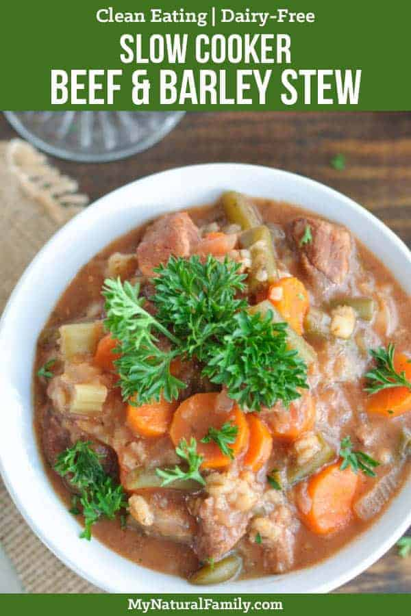 This slow cooker beef and barley stew is so easy to throw all the ingredients in the morning and forget about it the rest of the day and have your entire healthy, comforting meal in one bowl! {Clean Eating, Dairy-Free} #cleaneatingrecipes #cleaneating #eatclean #justeatrealfood